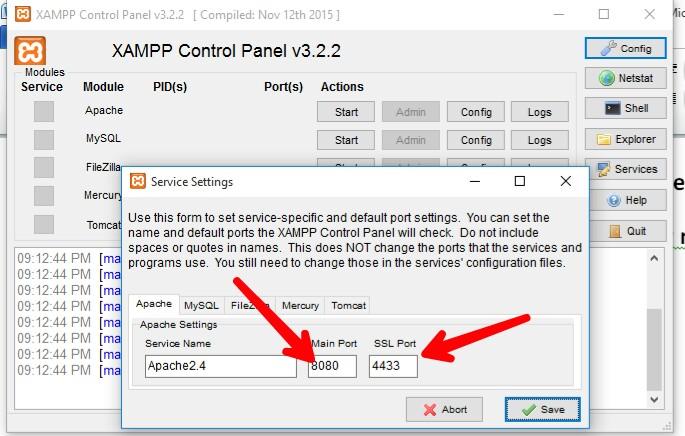 fix blocked port in xampp