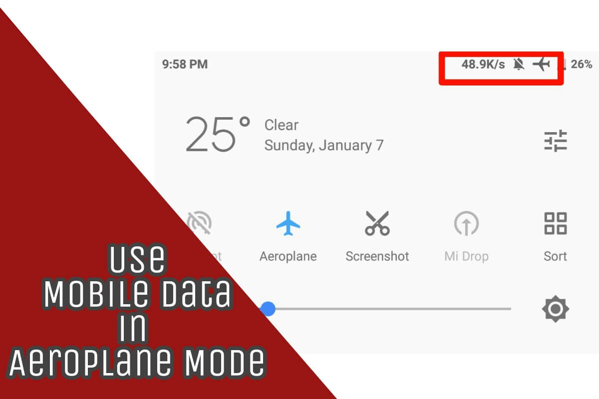 how to use mobile data in aeroplane mode