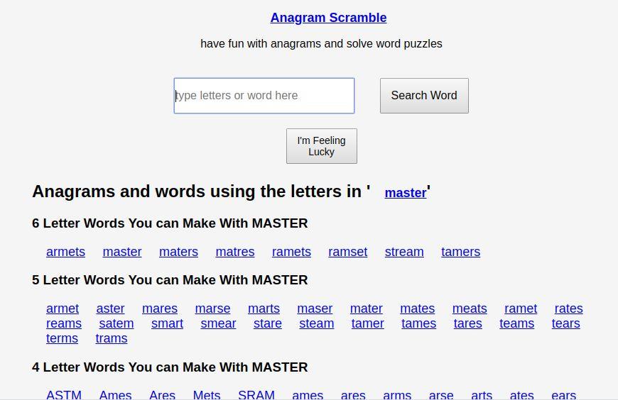 Anagram Scramble