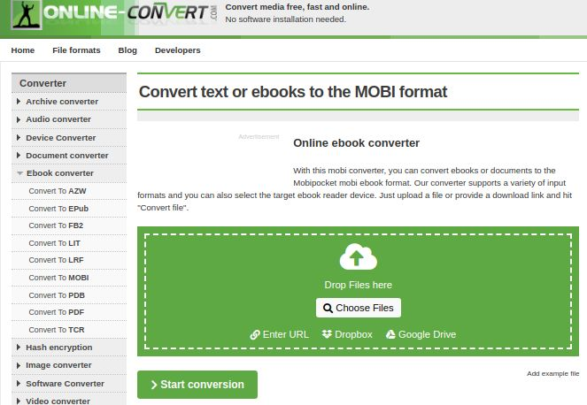 Ebook.online-convert epub to mobi