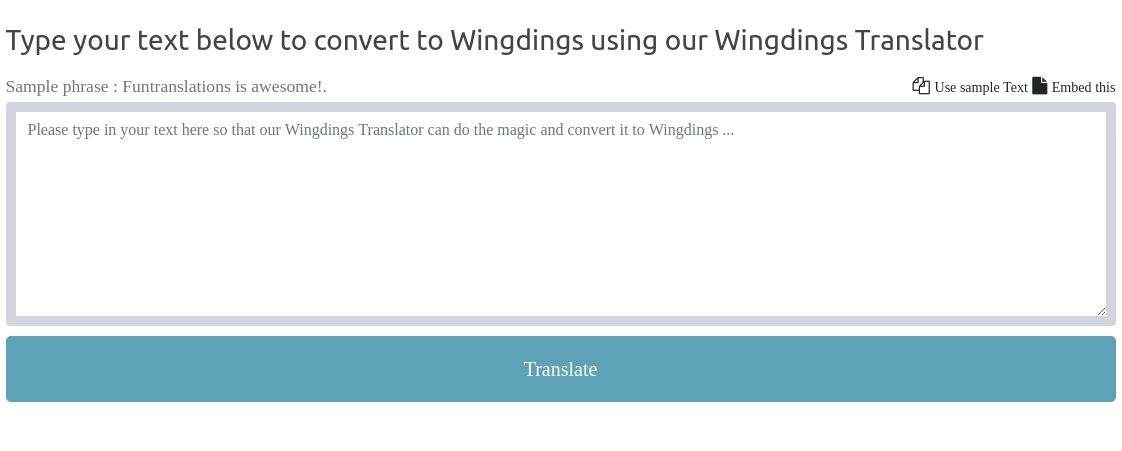 Grompe wingding font translator