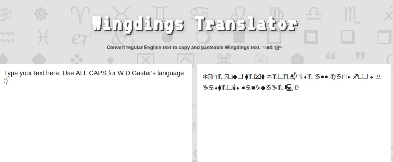 Lingojam wingding translator to english