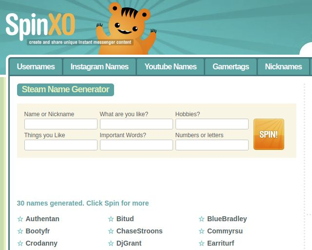 SpinXO random steam name generator