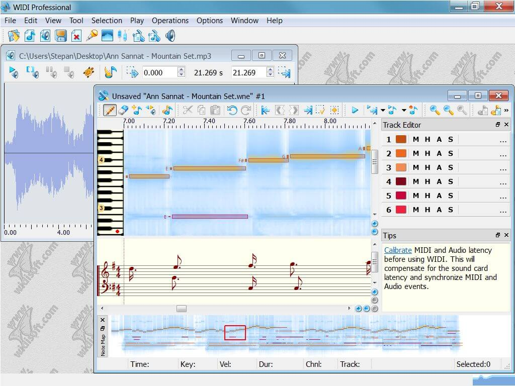 WIDI Recognition System mp3 to midi software
