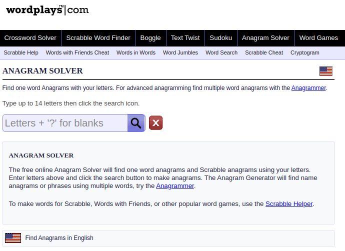 Wordplays anagram solver