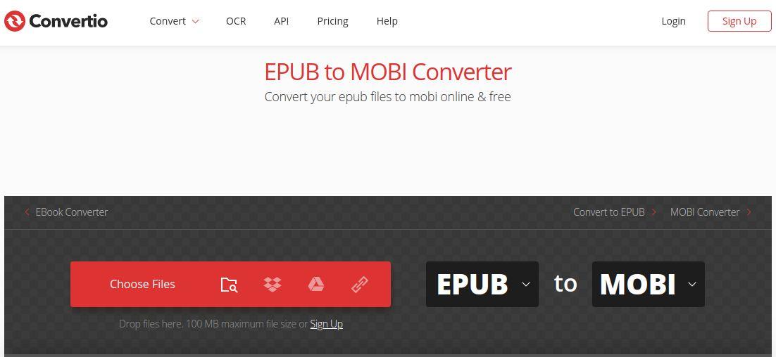 convertio epub to mobi converter free