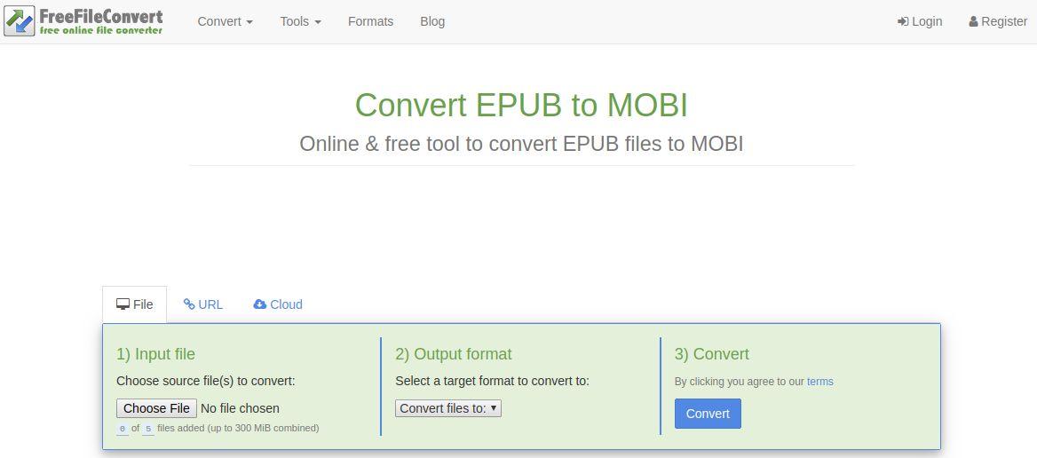 freefileconvert convert epub to mobi