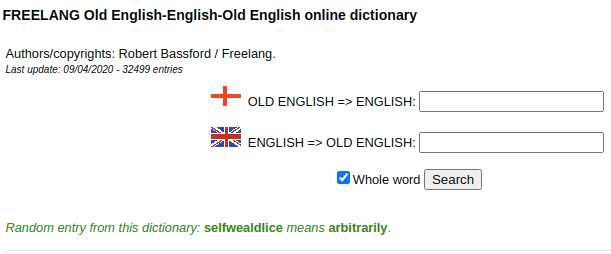 FREELANG Old English-English-Old English online dictionary