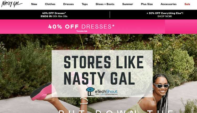 top websites and stores like Nasty Gal