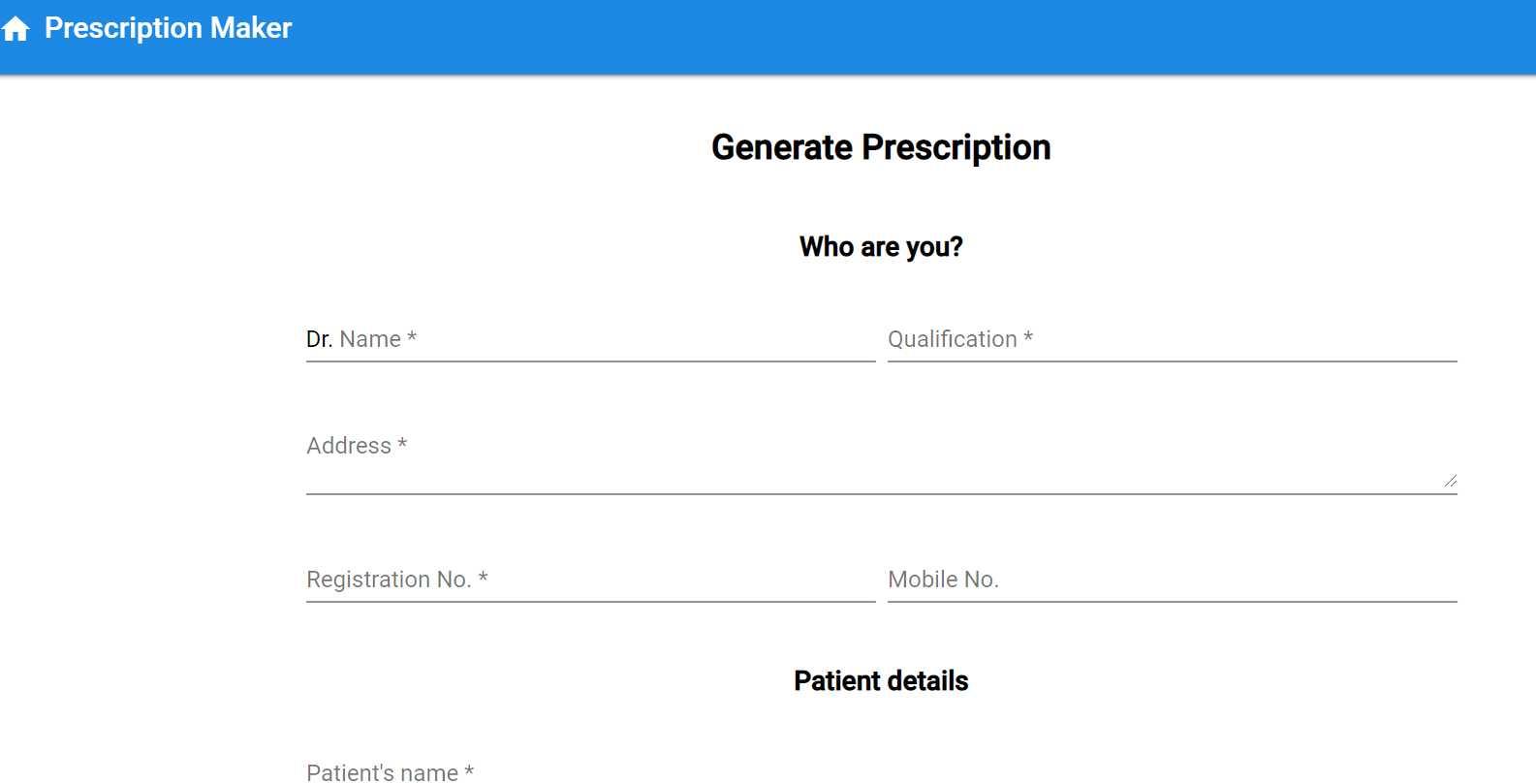 Prescription Maker Website